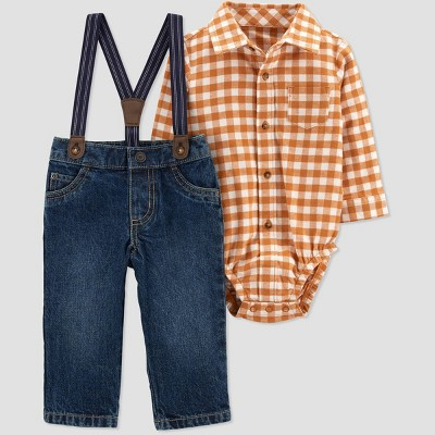 Baby Boys' Plaid Top & Bottom Set - Just One You® made by carter's Orange