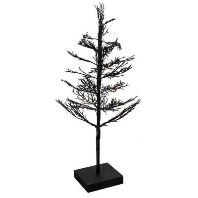 "Northlight 20"" Glittered Black LED Tabletop Halloween Tree - Clear Lights"