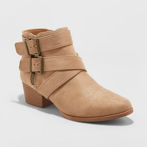 Women's Belle-Ann Microsuede Buckle Heeled Fashion Bootie - Universal Thread™ Taupe 12 - image 1 of 3