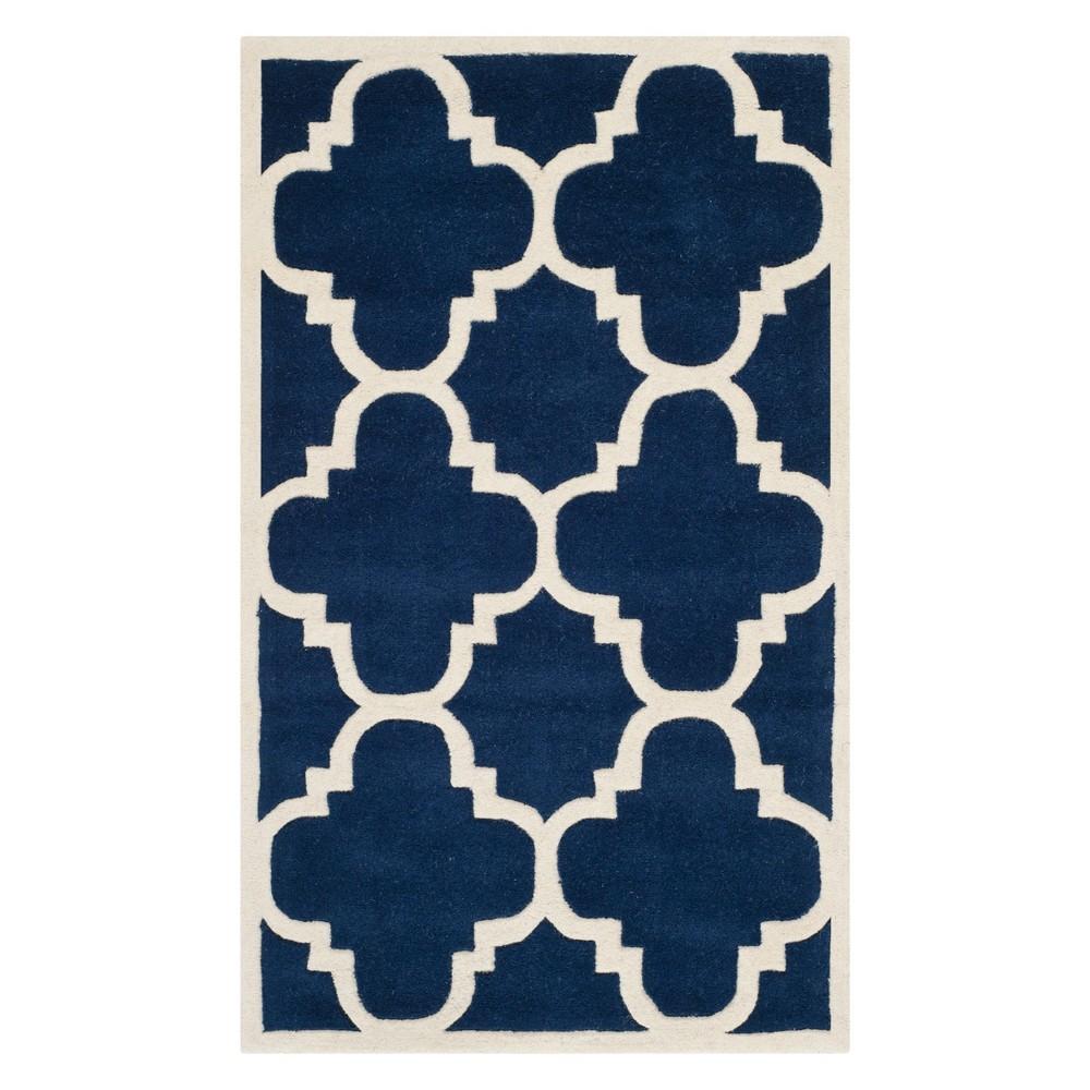 3'X5' Quatrefoil Design Tufted Accent Rug Dark Blue/Ivory - Safavieh