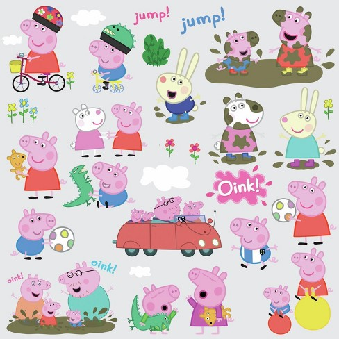 RoomMates Peppa Pig Peel and Stick Wall Decals 4 Sheets - image 1 of 3