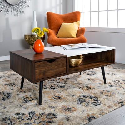 Wood and Faux Marble Coffee Table Dark Walnut - Saracina Home