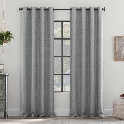 Subtle Woodgrain Recycled Fiber Semi-Sheer Grommet Top Curtain Panel - Clean Window