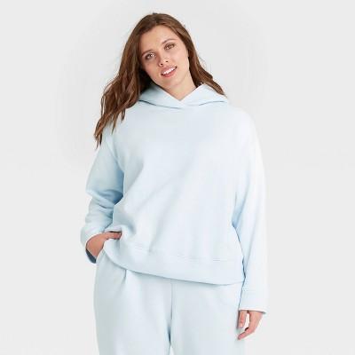 Women's Plus Size Hooded Sweatshirt - A New Day™ Light Blue 1X