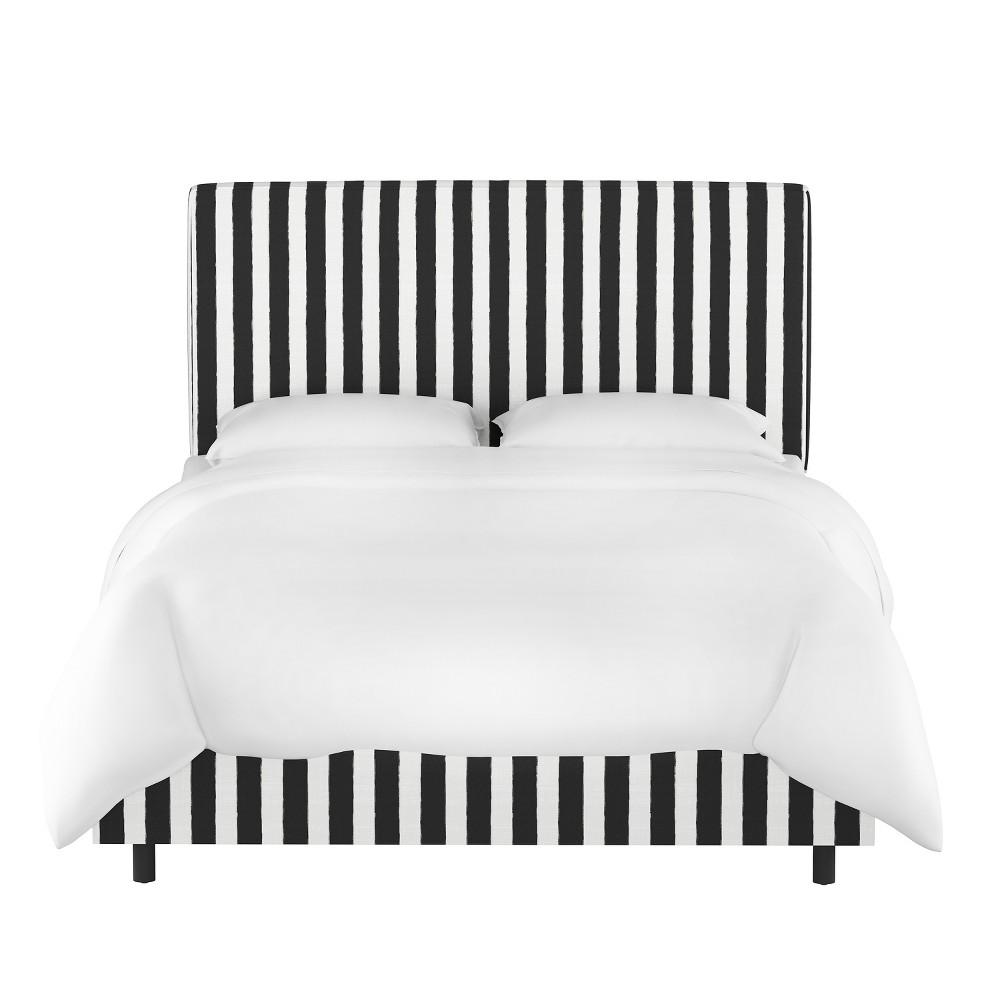 Queen Harper Box Seam Bed Black/White Stripe - Cloth & Co.