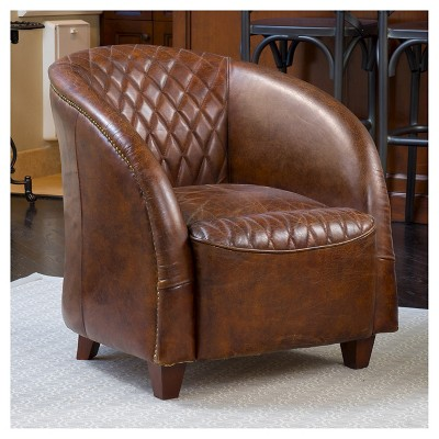 Rahim Tufted Leather Club Chair Brown   Christopher Knight Home : Target