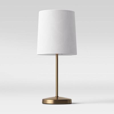 Mini Stick Table Lamp Peacock Print Brass - Opalhouse™