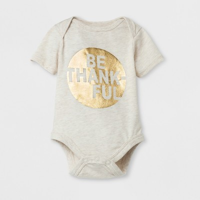 Baby Be Thankful Thanksgiving Family Bodysuit - Cat & Jack™ Oatmeal Heather 0-3M