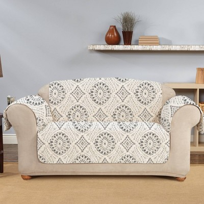 Medallion Printed Loveseat Furniture Protector Cover - Sure Fit