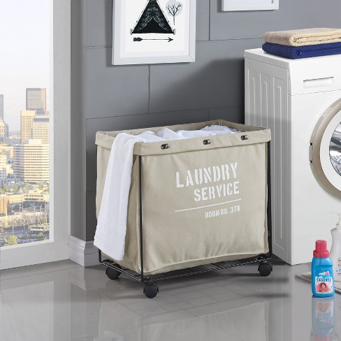6dcf5399f47 Danya B. Army Canvas Laundry Hamper On Wheels Mohave Earth   Target