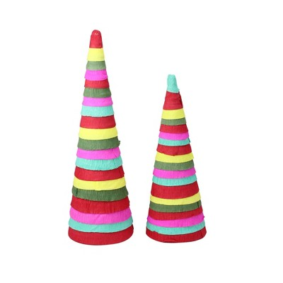 Raz Imports Set of 2 Red and Pink Tiered Cone Christmas Tabletop Decor 16''
