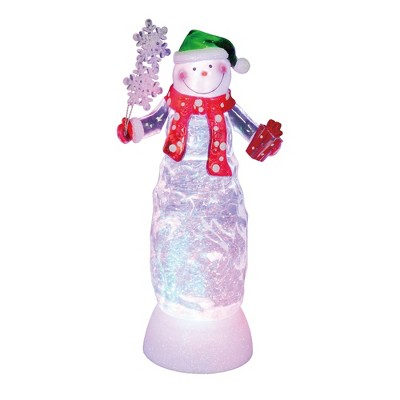 "Northlight 11"" Swirling Glitter LED Lighted Snowman with Gift Christmas Decoration"