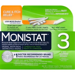Monistat Cure & Itch Relief 3-Day Treatment Ovules - 0.32oz