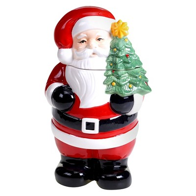 Certified International Retro Christmas 3-D Santa Cookie Jar