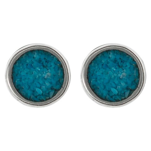 Women's Tressa Collection Stud Earrings with Turquoise Inlay in Sterling Silver - Turquoise - image 1 of 2