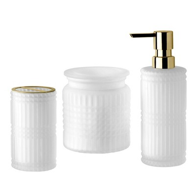 3pc Devon Lotion Pump/Toothbrush Holder/Cotton Ball Jar Set White - Allure Home Creations