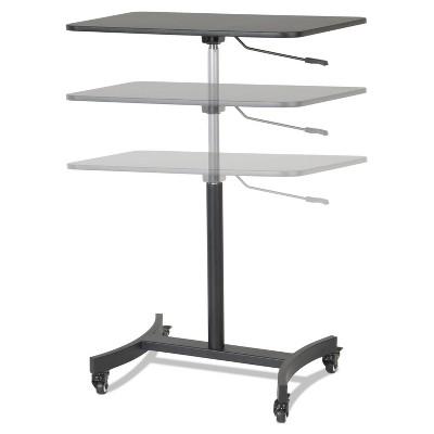 Victor High Rise Mobile Adjustable Sit-Stand Workstation 30 3/4 x 22 x 44 Black DC500