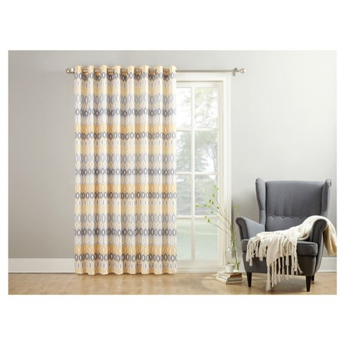 Denzel Extra Wide Geometric Print Casual Textured Patio Door Curtain Panel Yellow 100 X84 No 918