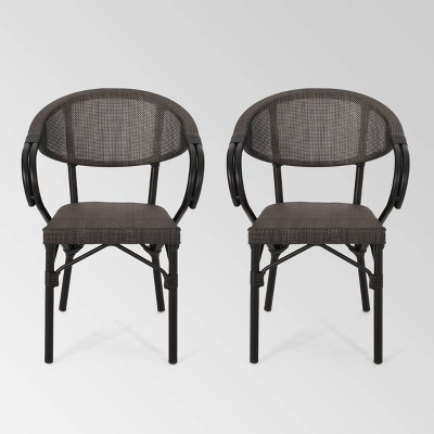 Meaux 2pk Faux Rattan Parisian Cafe Chairs - Dark Brown - Christopher Knight Home