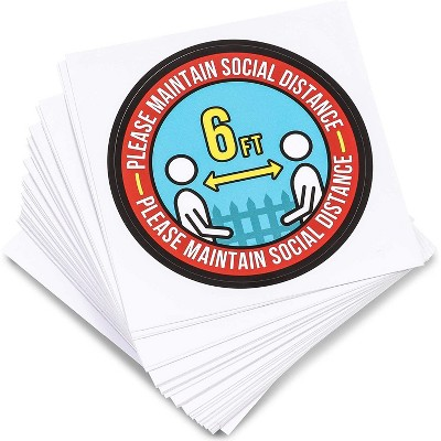 "50-Count Small Round Social Distancing Decal Stickers, 3"" Diameter, Apply Anywhere"