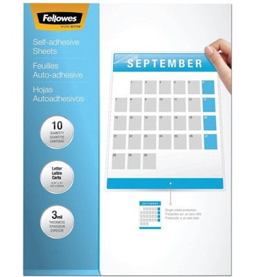 "Fellowes Self-Adhesive Laminating Sheets 9"" x 12"" 10/Pack (5221501) 719627"