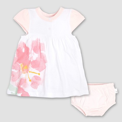 Burt's Bees Baby Girls' Organic Cotton Watercolor Bloom Dress & Diaper Cover Set - White/Pink 0-3M