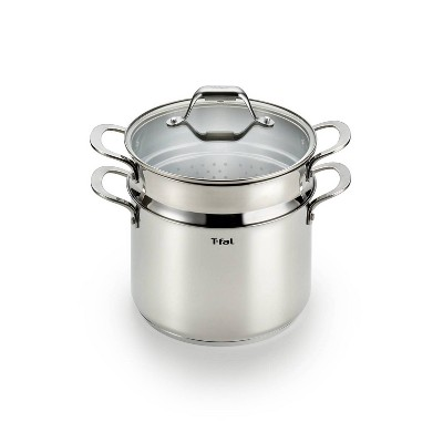 T-fal Simply Cook Stainless Steel Cookware, Covered Stockpot with Pasta Insert, 7qt, Silver