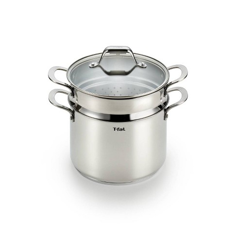 T-fal Simply Cook Stainless Steel Cookware, Covered Stockpot with Pasta Insert, 7qt, Silver - image 1 of 4