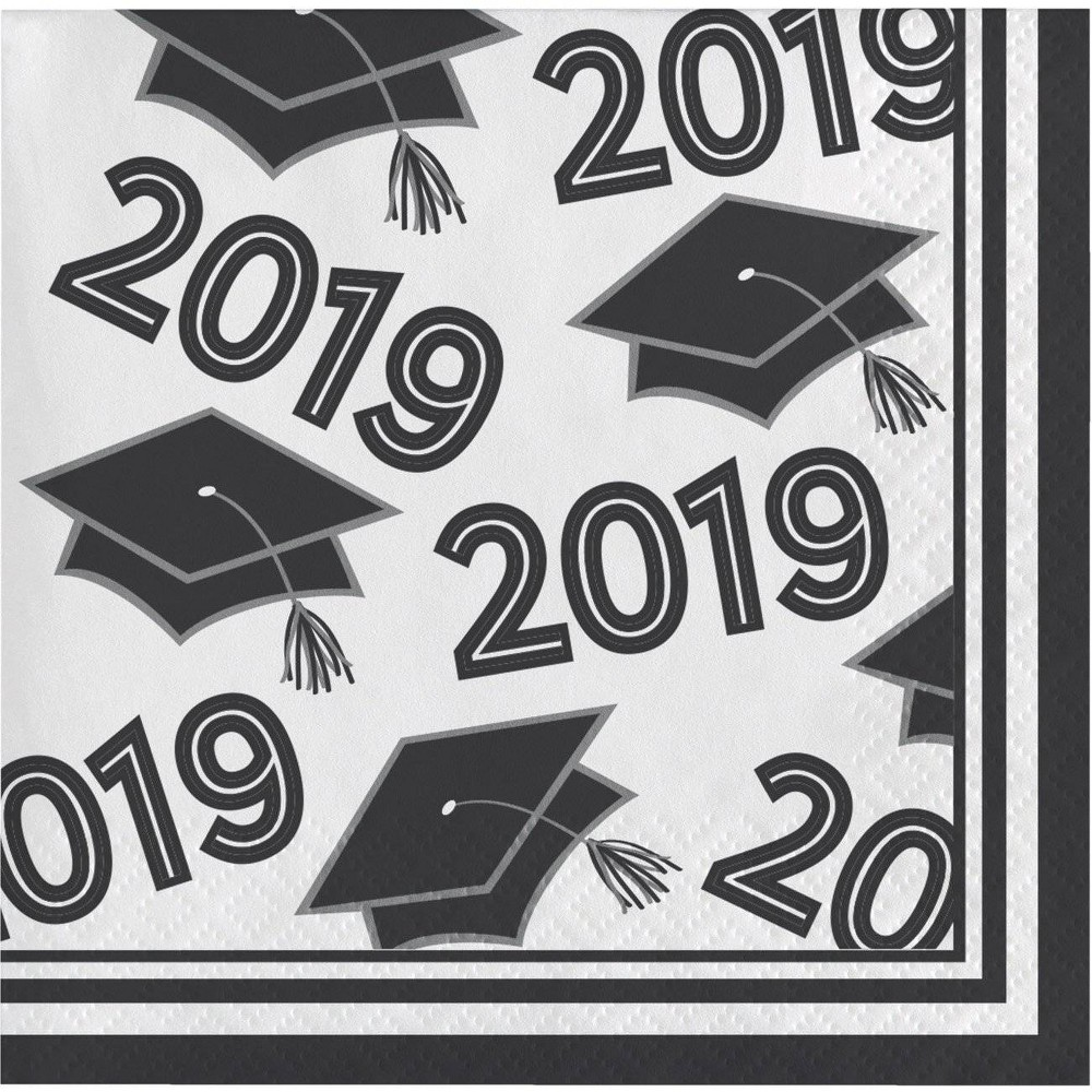 "Image of ""108ct """"Class Of 2019"""" Disposable Beverage Napkins Black/White"""