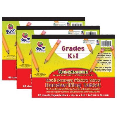 3pk Grades K-1 Multi-Sensory Picture Story Handwriting Tablet - Pacon