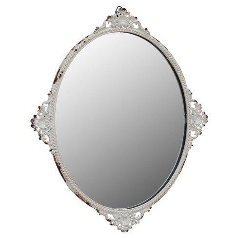 Oval Wall Mirror with Decorative details White/Brown - image 1 of 5