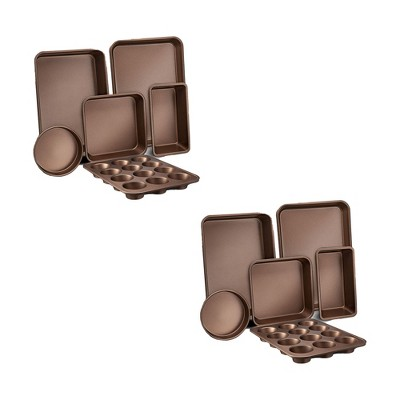 NutriChef Kitchen Oven Non Stick Carbon Steel Tray Sheet 6 Piece Bakeware Set with Cookie Tray, Cake Pan, Muffin Pan, and Bread Loaf Pan Gold (2 Pack)