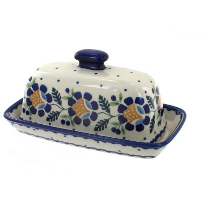 Blue Rose Polish Pottery Sunflower Butter Dish