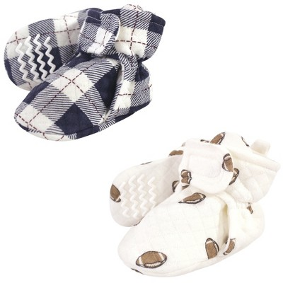 Hudson Baby Infant and Toddler Boy Quilted Booties 2pk, Football