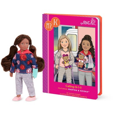 "Our Generation Read & Play Set - 6"" Mini Doll Keisha with Storybook"