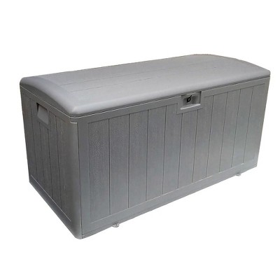 Plastic Development Group 105-Gallon Weather-Resistant Resin Outdoor Storage Patio Deck Box with Soft-Close Lid, Driftwood Gray