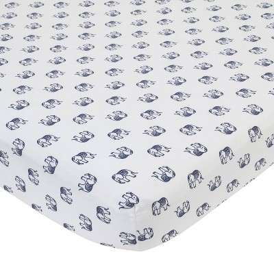 NoJo Serendipity Navy Elephant Print Cotton Fitted Crib Sheet