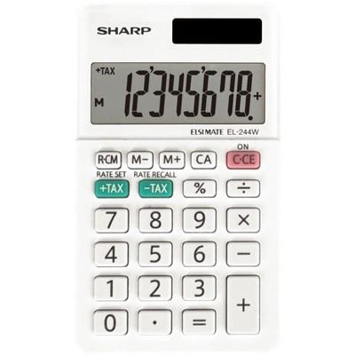 "Sharp 8-Digit Calculator Twin Power 2-2/5""Wx4-1/10""Lx3/10""H WE EL244WB"