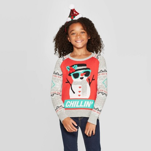 Well Worn Girls' Snowman Chillin Ugly Christmas Sweater - Red - image 1 of 3