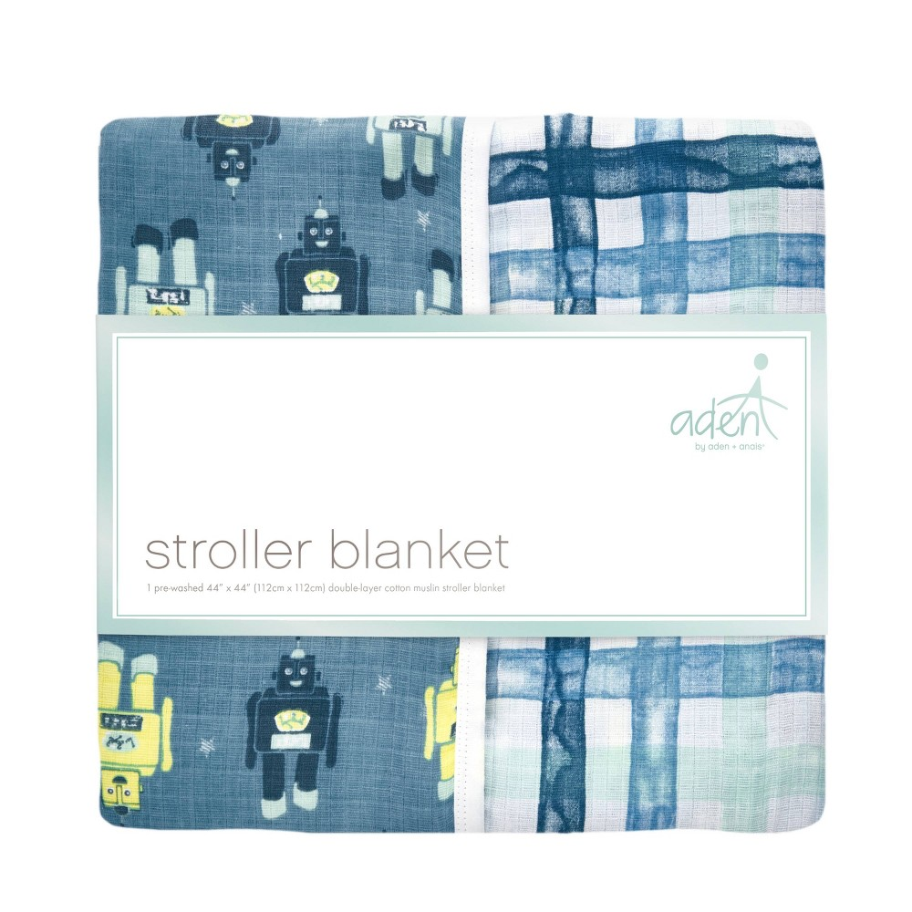 Image of aden by aden + anais Stroller Blanket - Retro - Robot Plaid, Robot Plaid Blue