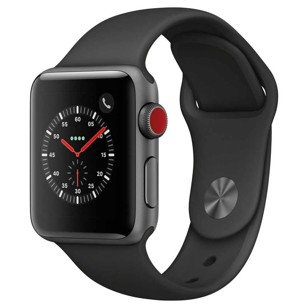 Apple Watch Series 3 38mm (Gps + Cellular) Aluminum Case Sport Band - Gray Low and high heart rate notifications. Emergency Sos. New Breathe watch faces. Automatic workout detection. New yoga and hiking workouts. Advanced features for runners like cadence and pace alerts. New head-to-head competitions. Activity sharing with friends. Personalized coaching. Monthly challenges and achievement awards. Built-in cellular lets you use Walkie-Talkie, make phone calls, and send messages. Stream Apple Music and Apple Podcasts. And use Siri in all-new ways—even while you're away from your phone. With Apple Watch Series 3, you can do it all with just your watch. Selection may vary; see a sales associate for available models. Apple Watch Series 3 (Gps + Cellular) requires an iPhone 6 or later with iOS 12 or later. Wireless service plan required for cellular service. Apple Watch and iPhone service provider must be the same. Not all service providers support enterprise accounts; check with your employer and service provider. Roaming is not available outside your carrier network coverage area. Contact your service provider for more details. Apple Music requires a subscription. Iso standard 22810:2010. Appropriate for shallow-water activities like swimming. Submersion below shallow depth and high-velocity water activities not recommended. Size: 38mm. Color: Gray.
