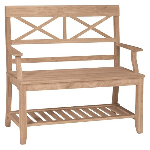 Double X-Back Bench with Arms and a Shelf - International Concepts - image 1 of 1