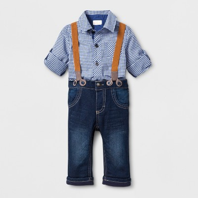 Baby Boys' 2pc Long Sleeve Collared Gingham Shirt and Suspenders in Denim Pants Set - Cat & Jack™ Blue 18M