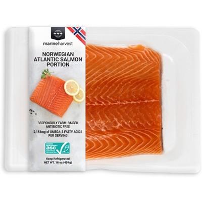 Marine Harvest Farmed Plain Atlantic Salmon Portion -16oz