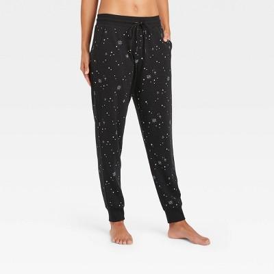 Women's Star Print Beautifully Soft Fleece Lounge Jogger Pants - Stars Above™ Black
