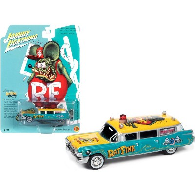 """1959 Cadillac Ambulance """"Rat Fink"""" Turquoise and Yellow with Graphics 1/64 Diecast Model Car by Johnny Lightning"""