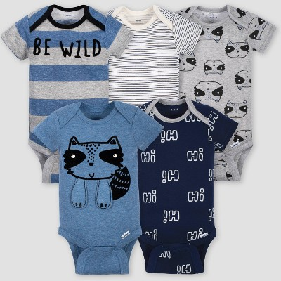 Gerber Baby Boys' 5pk Short Sleeve Raccoon Bodysuits - Blue/Gray 3-6M