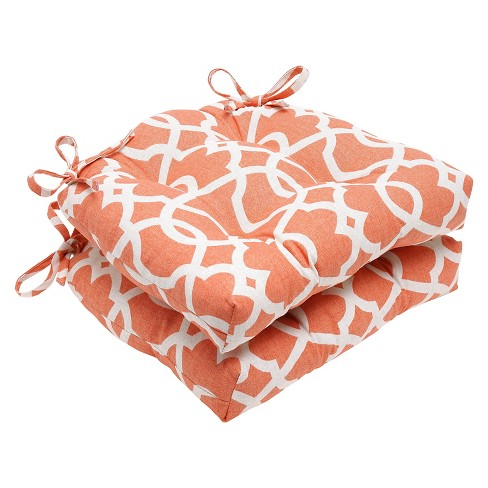 "Orange Lattice Damask Reversible Chair Pad (Set Of 2) (16""X15.5"") - Pillow Perfect - image 1 of 1"