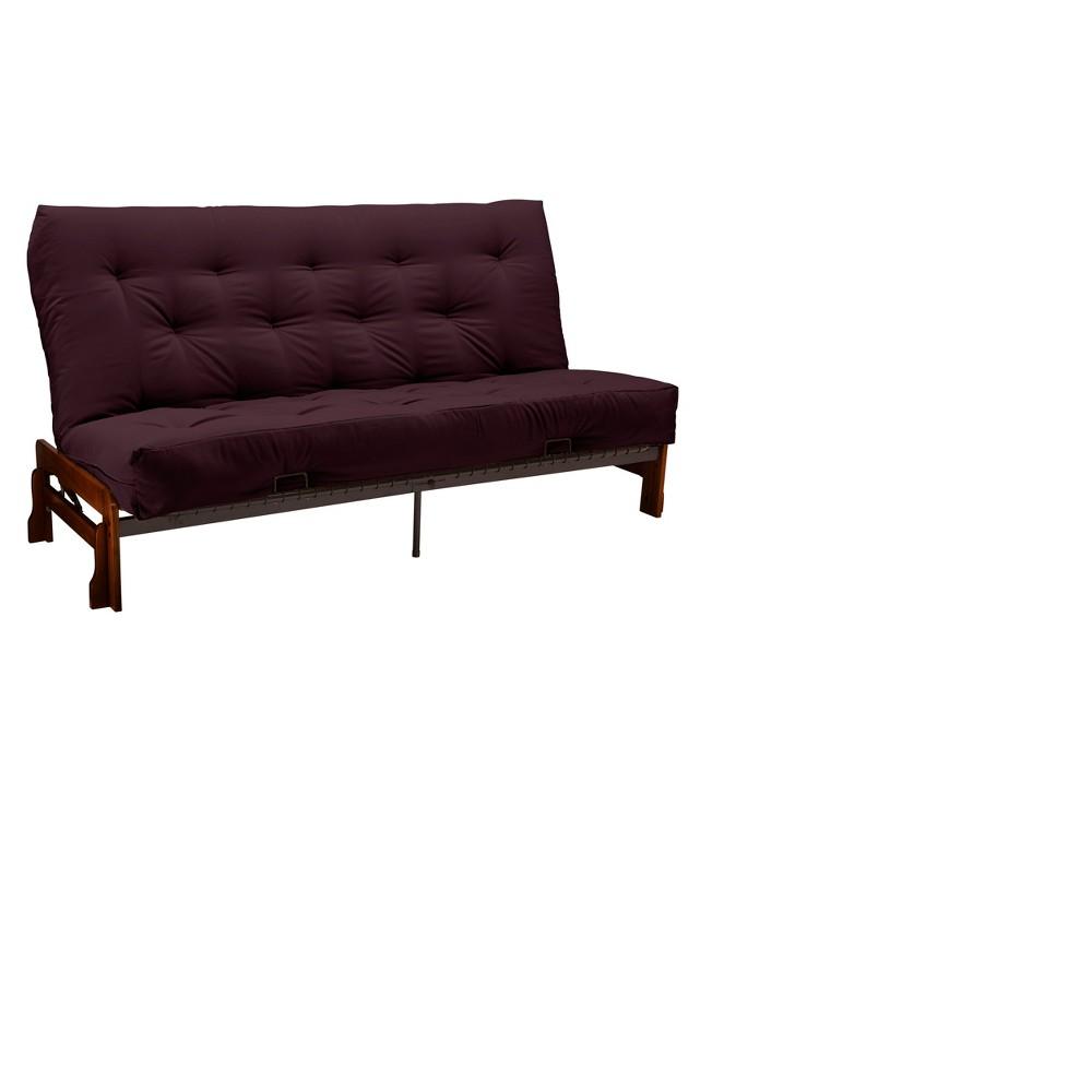 8 Low Arm Cotton & Foam Futon Sofa Sleeper Walnut Wood Finish Maroon (Red) - Epic Furnishings