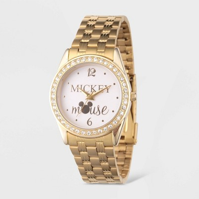 Women's Disney Mickey Mouse Glitz Bracelet Watch - Gold